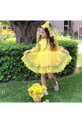 لباس مجلسی بهاری دخترانه برند Riccotarz رنگ زرد ty35658309