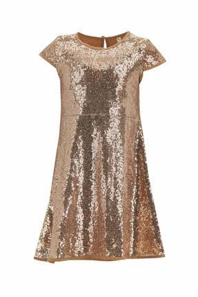 مدل لباس مجلسی دخترانه  برند دفاکتو ترکیه رنگ طلایی ty95978639