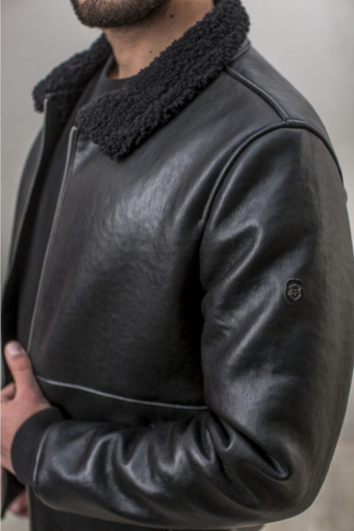 کاپشن چرم مردانه ست برند آوا رنگ مشکی کد ty102152347