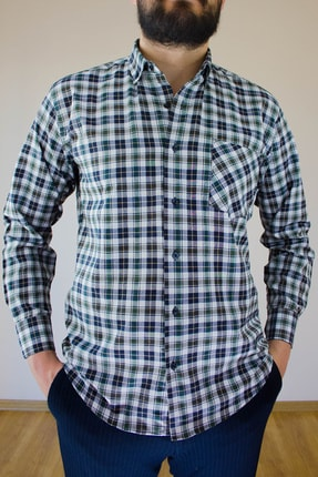 خرید پستی پیراهن کلاسیک مردانه پارچه نخی برند Ottomen رنگ سبز کد ty122809984