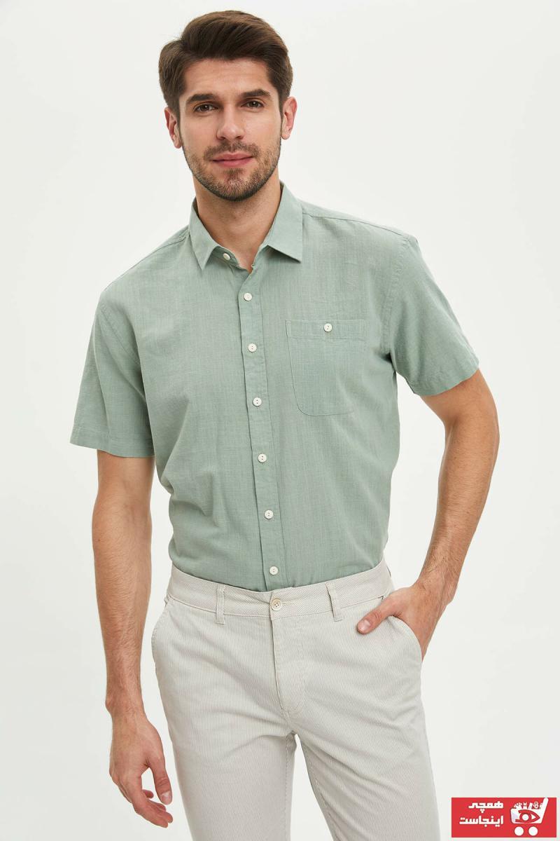 پیراهن مردانه خاص برند دفاکتو ترکیه رنگ زرد ty35897927