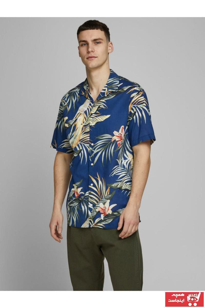 حرید اینترنتی پیراهن مردانه ارزان برند جک اند جونز رنگ آبی کد ty42403940