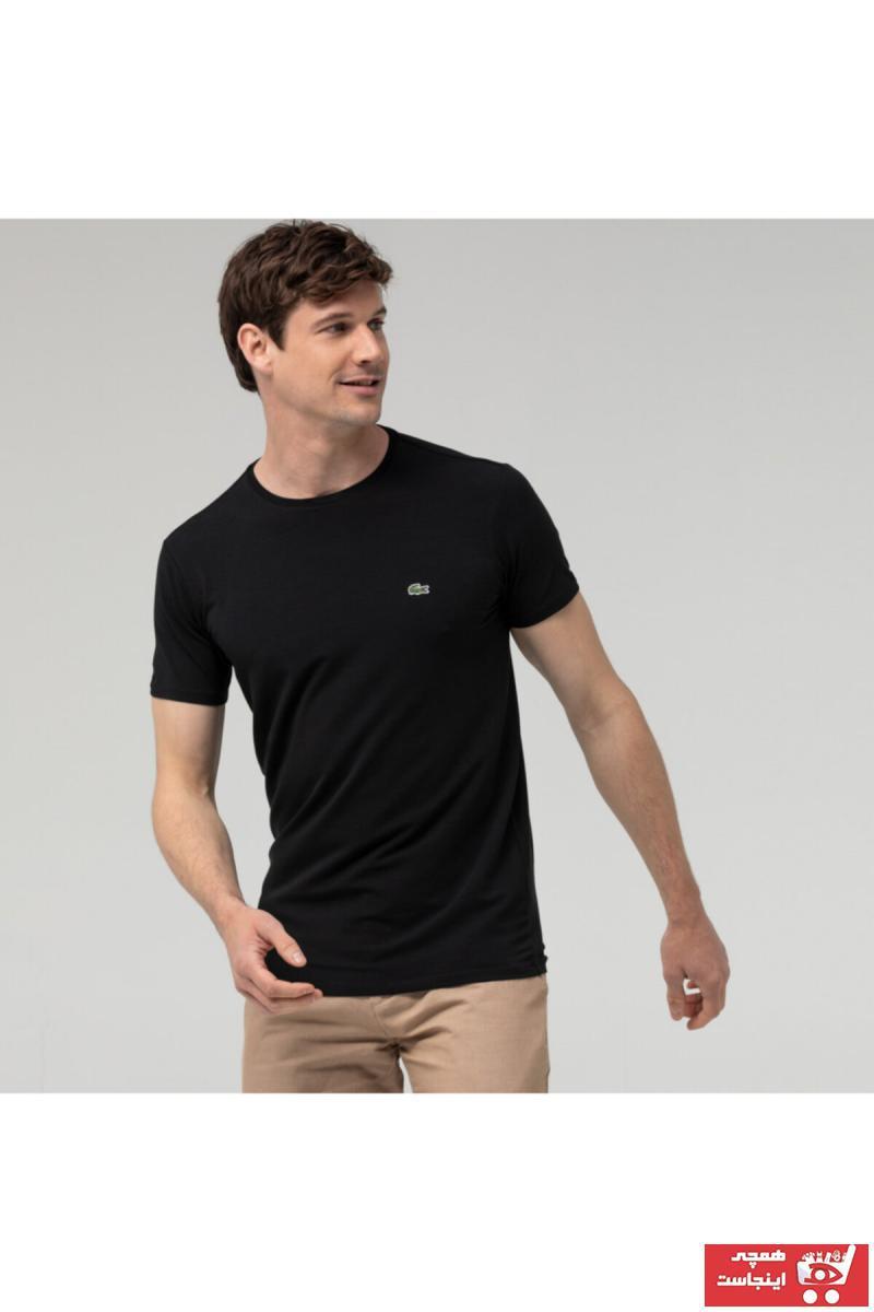 تی شرت مردانه شیک و جدید برند لاگوست lacoste رنگ مشکی کد ty4590310