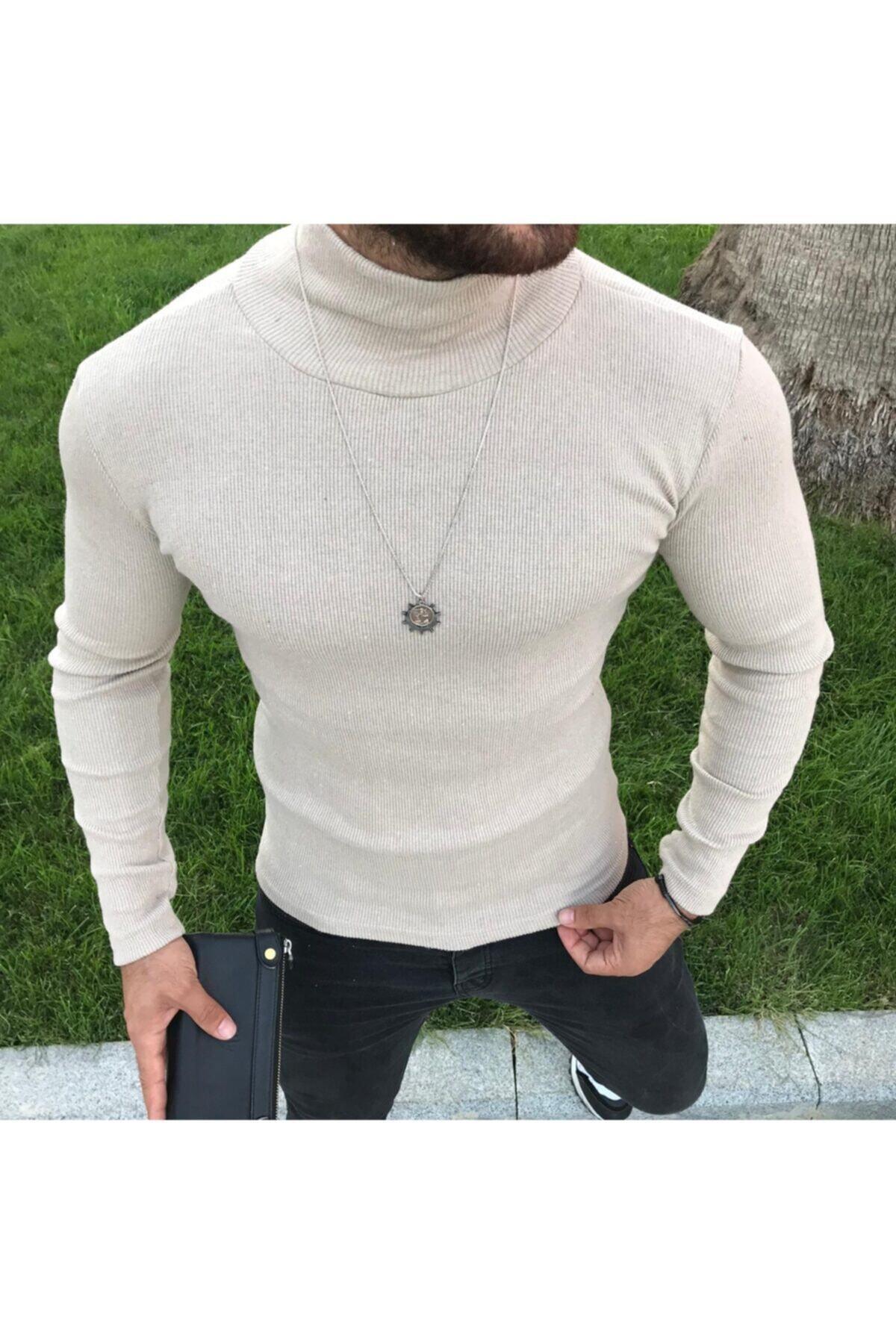 سفارش پلیور بافتی زمستانی مردانه برند Wisely رنگ بژ کد ty55296576