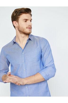 فروش پیراهن مردانه نخی برند کوتون رنگ لاجوردی کد ty5746698