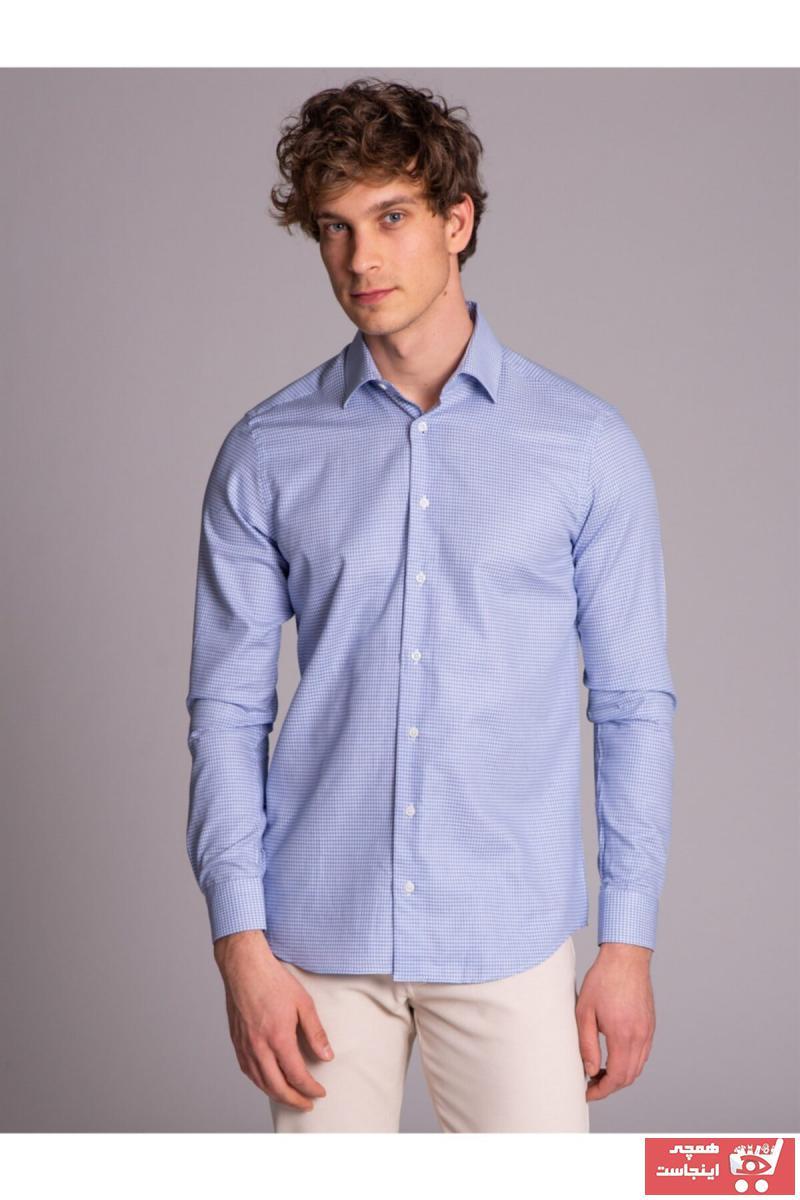 پیراهن کلاسیک مردانه ترک برند Dufy رنگ آبی کد ty6235981