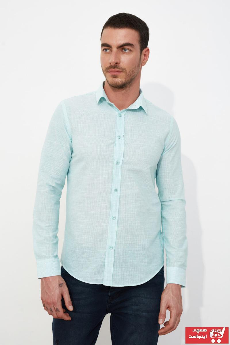 پیراهن فانتزی مردانه مارک ترندیول مرد رنگ فیروزه ای ty81301915