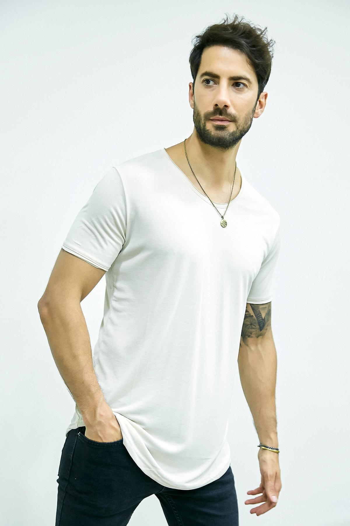 فروش تی شرت مردانه حراجی برند Sateen Men رنگ نقره ای کد ty83073045