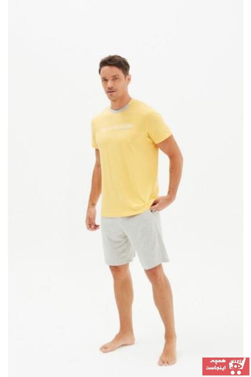 خرید پستی ست پیژامه مردانه پارچه نخی برند Blackspade رنگ زرد ty97320954