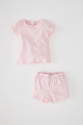 خرید پستی ست لباس نوزاد دخترانه پارچه نخی برند دفاکتو رنگ صورتی ty113800946