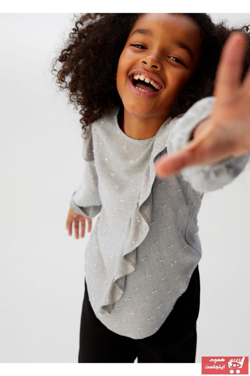 شومیز نوزاد دختر کوتاه برند منگو رنگ نقره ای کد ty32687876