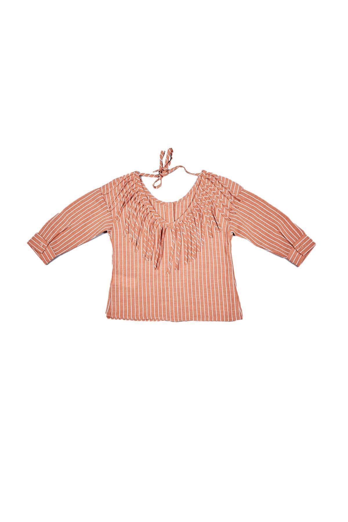 شومیز ارزان نوزاد دختر برند Çikoby رنگ نارنجی کد ty72750990