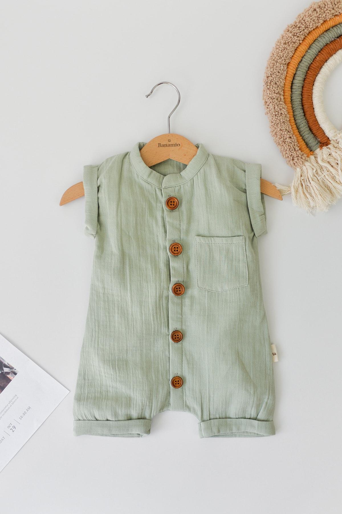 حرید اینترنتی ست لباس نوزاد پسرانه ارزان برند Banamio رنگ سبز کد ty75200475