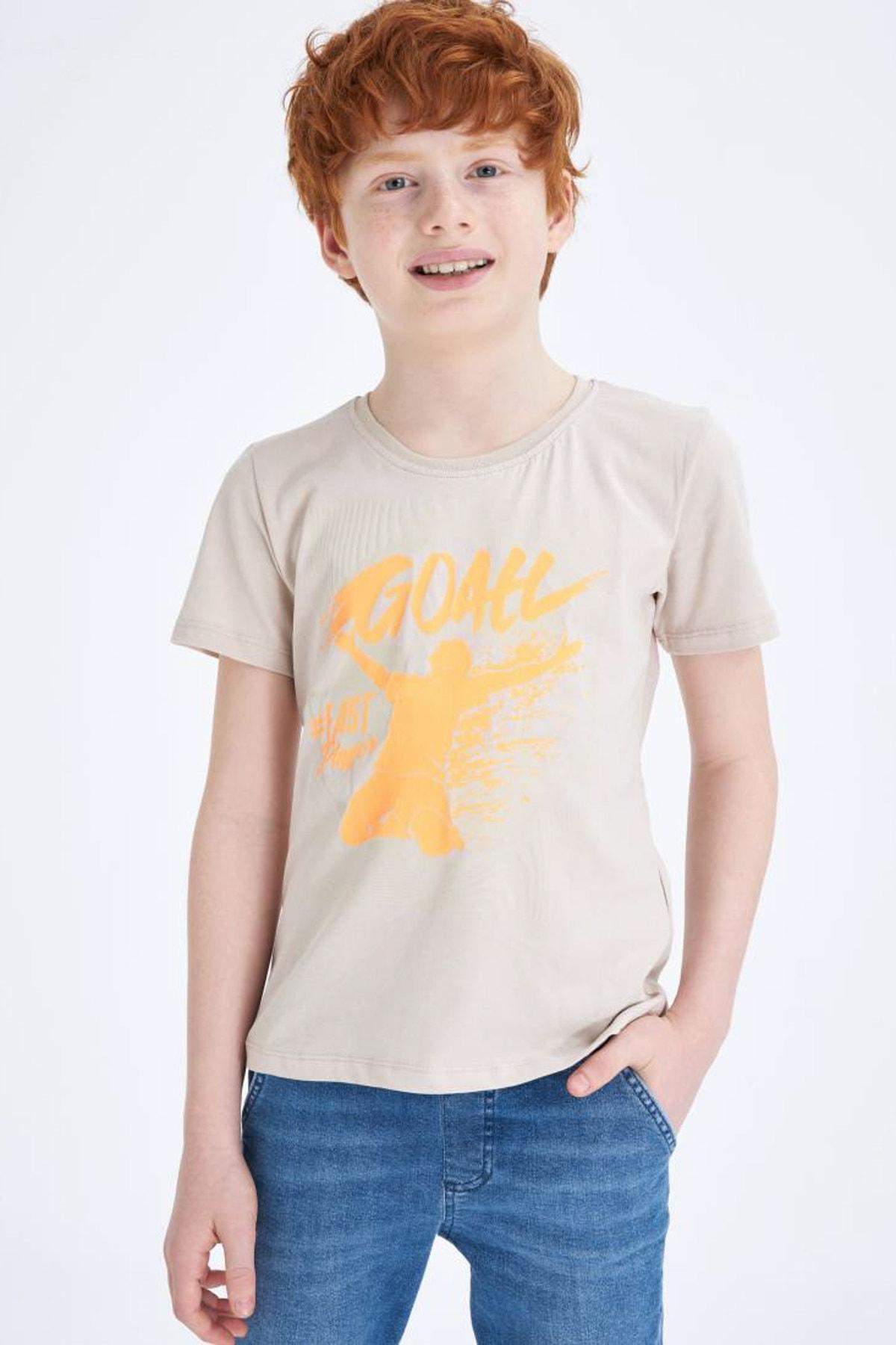 تیشرت پسرانه با قیمت برند دفاکتو ترکیه رنگ نقره ای کد ty38277196