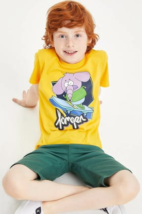 خرید تیشرت پسرانه ترک جدید مارک دفاکتو رنگ زرد ty6539068
