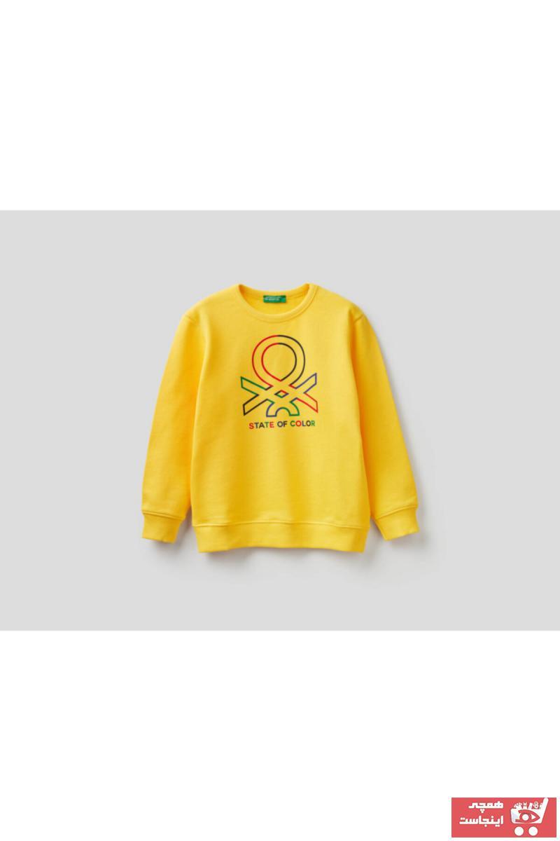 سویشرت پسرانه کوتاه برند United Colors of Benetton رنگ زرد ty92603761
