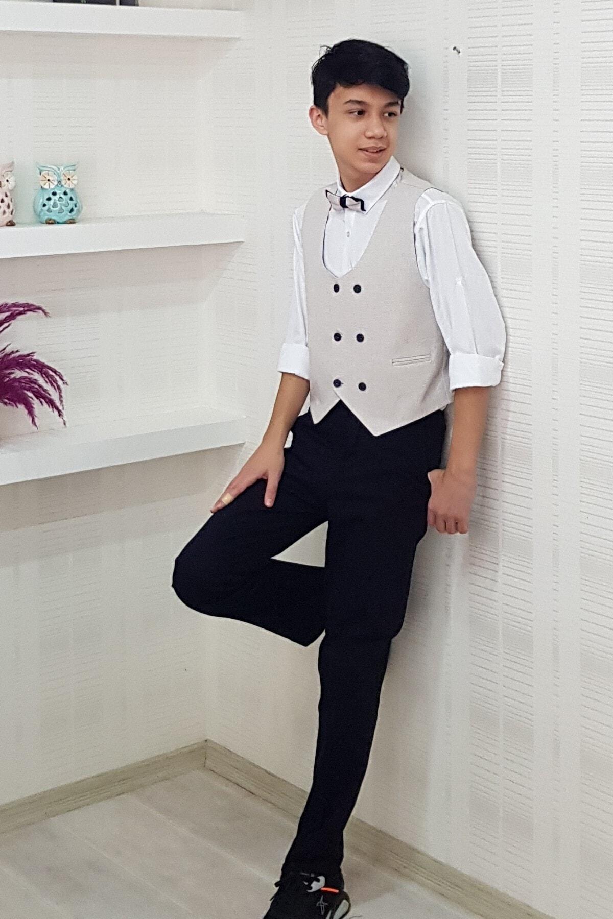 خرید پستی لباس مجلسی پسرانه برند Tarz Çocuk رنگ بژ کد ty96574628