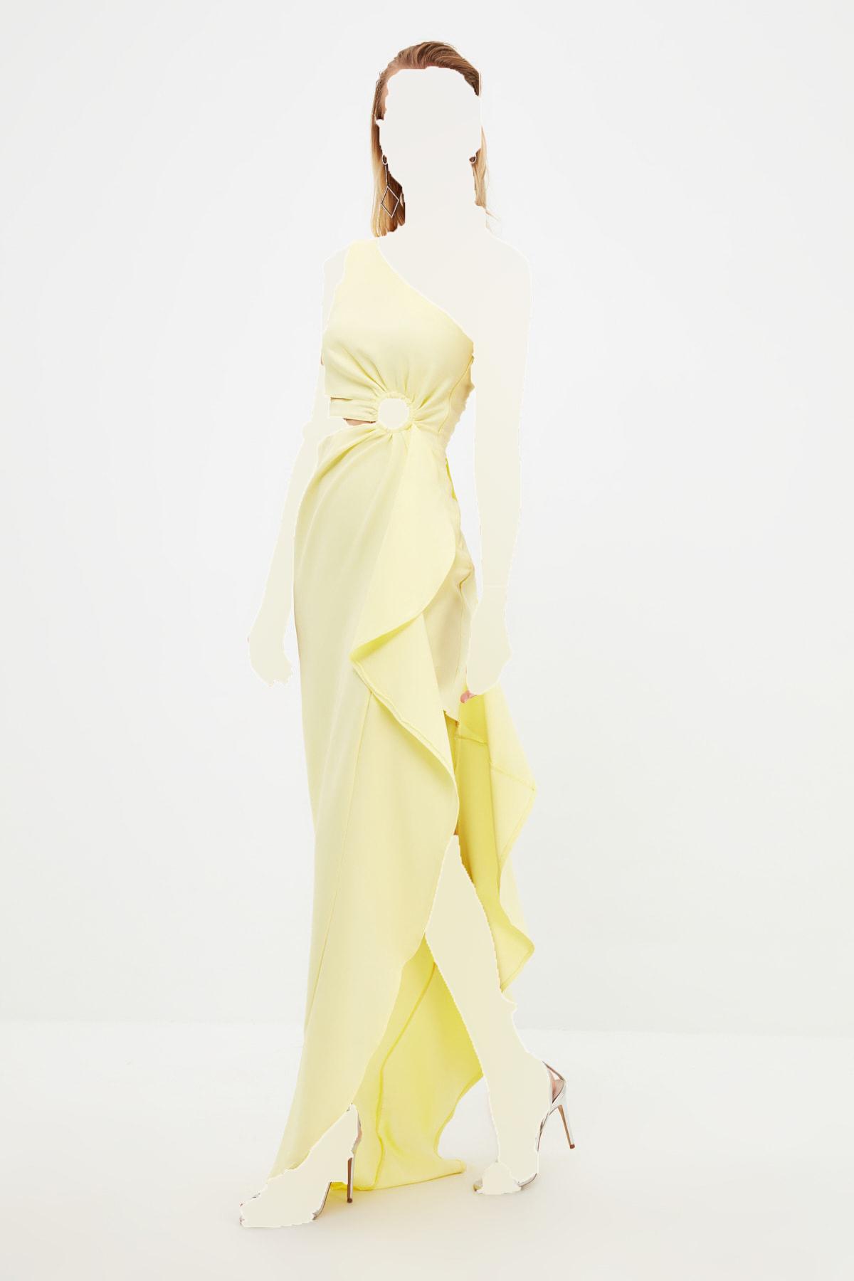 لباس مجلسی بلند برند TRENDYOLMİLLA رنگ زرد ty118312847