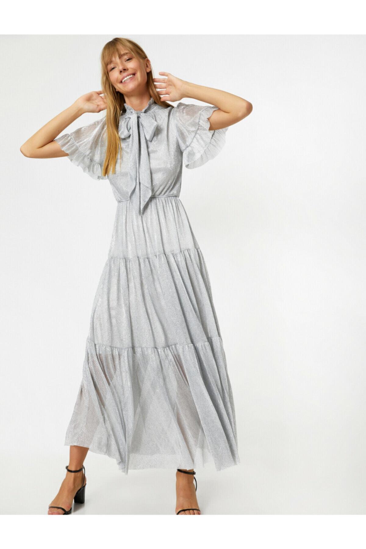 لباس مجلسی زنانه قیمت مناسب برند کوتون رنگ نقره ای کد ty36403227