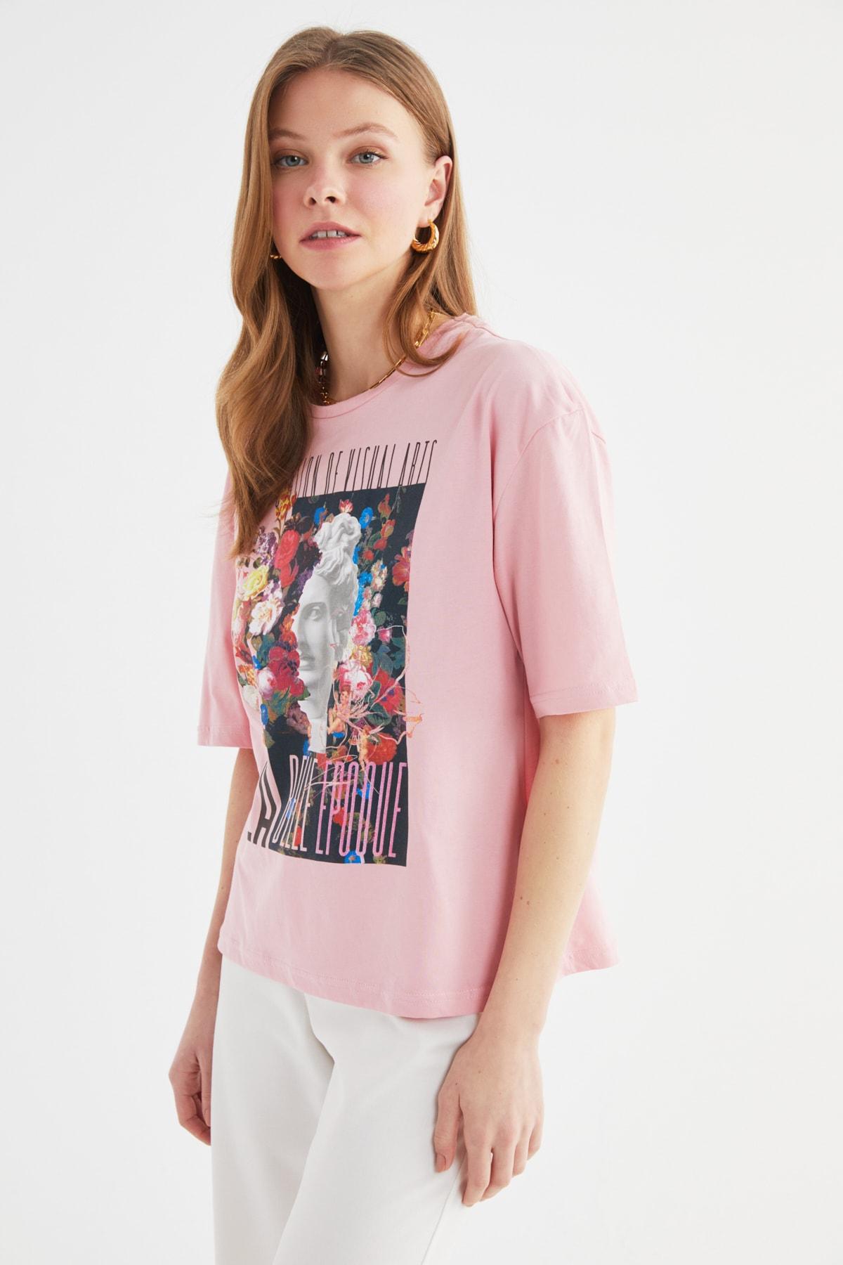 فروش انلاین تیشرت زنانه مجلسی برند ترندیول میلا رنگ صورتی ty99685619