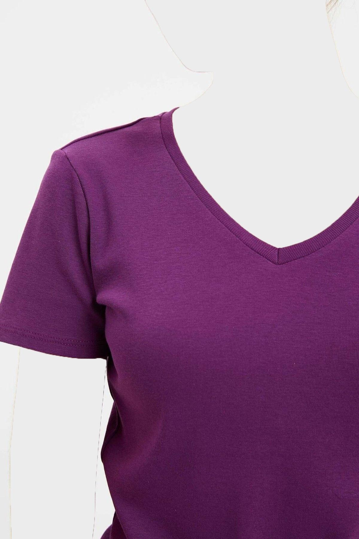 تیشرت زنانه شیک برند دفاکتو رنگ بنفش کد ty35431642