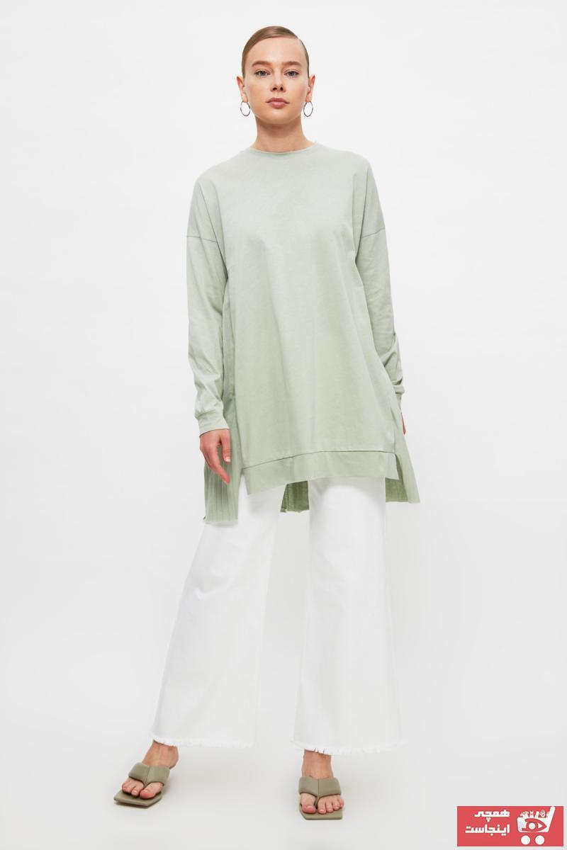 تونیک زنانه جدید برند Trendyol Modest رنگ سبز کد ty104893003