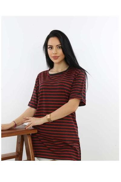 خرید اسان تونیک زنانه اسپرت جدید برند SHOPPİNG GO رنگ زرشکی ty119170201