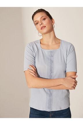 تیشرت زنانه شیک جدید برند ال سی وایکیکی ترک رنگ آبی کد ty36703717