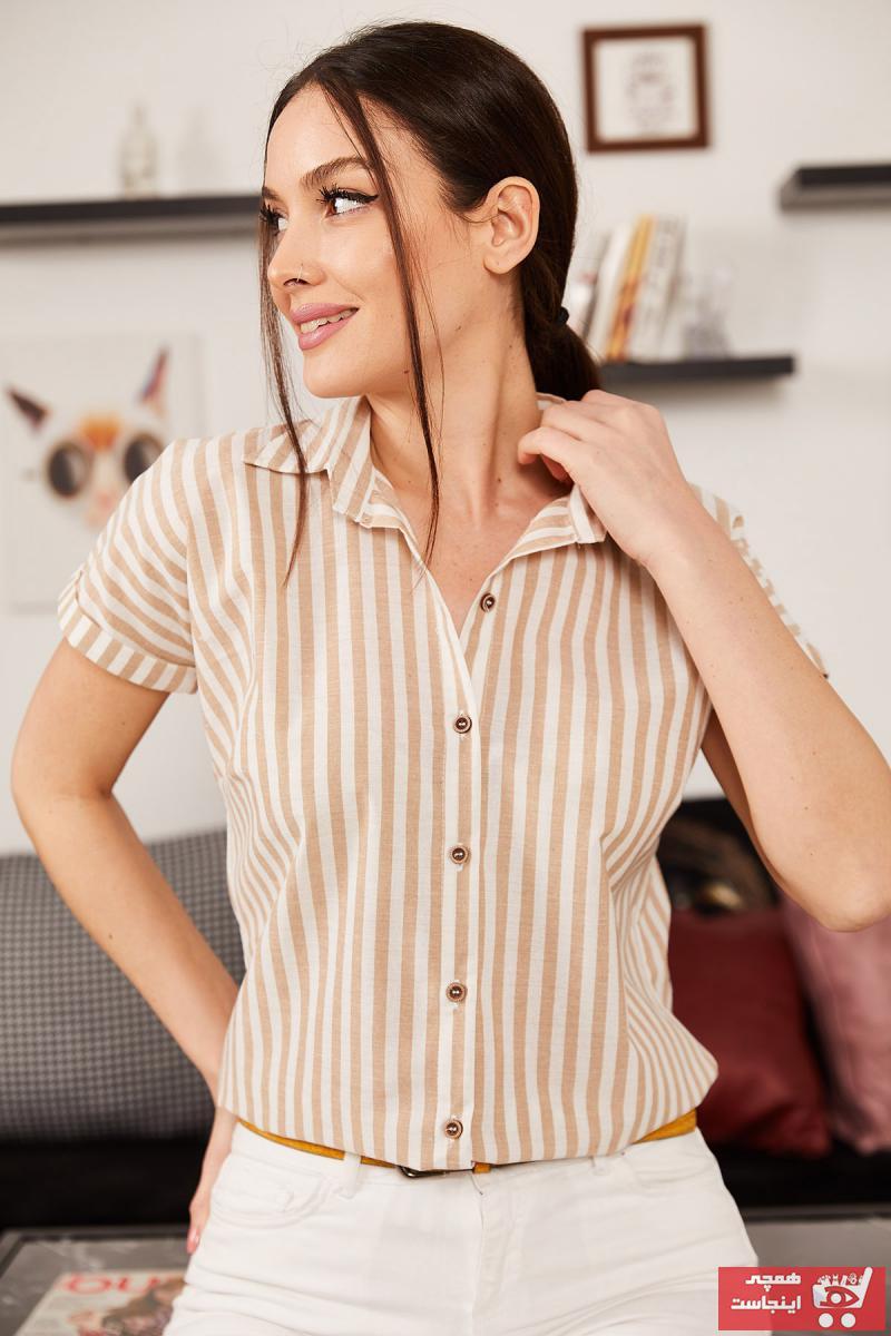 شومیز شیک زنانه برند armonika رنگ قهوه ای کد ty95269272