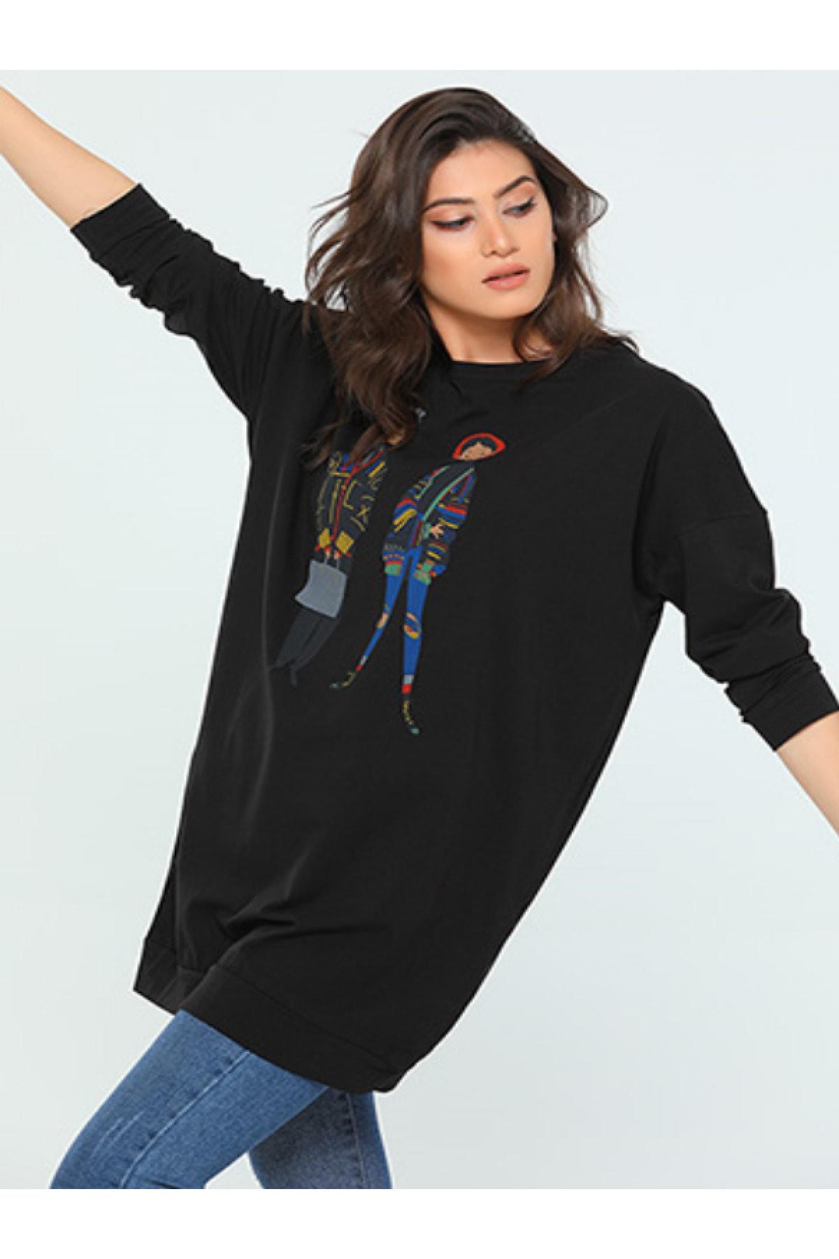 سفارش سویشرت زنانه ارزان برند Çarşım Mağazaları رنگ مشکی کد ty114149103