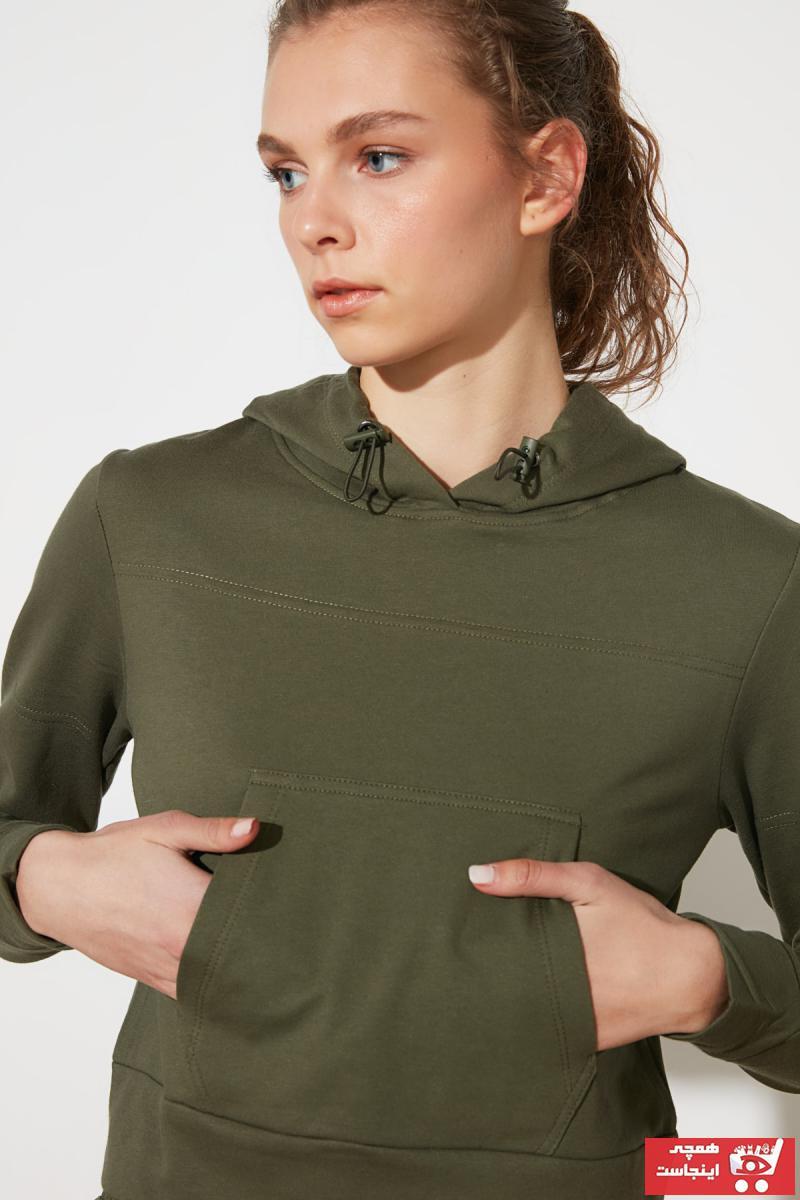 سویشرت زنانه مدل دار برند TRENDYOLMİLLA رنگ خاکی کد ty75789312
