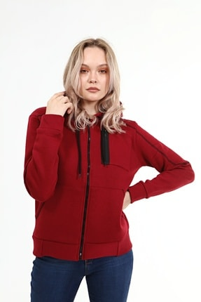 ژاکت بافتی بلند برند WİXELİ رنگ زرشکی ty120598062