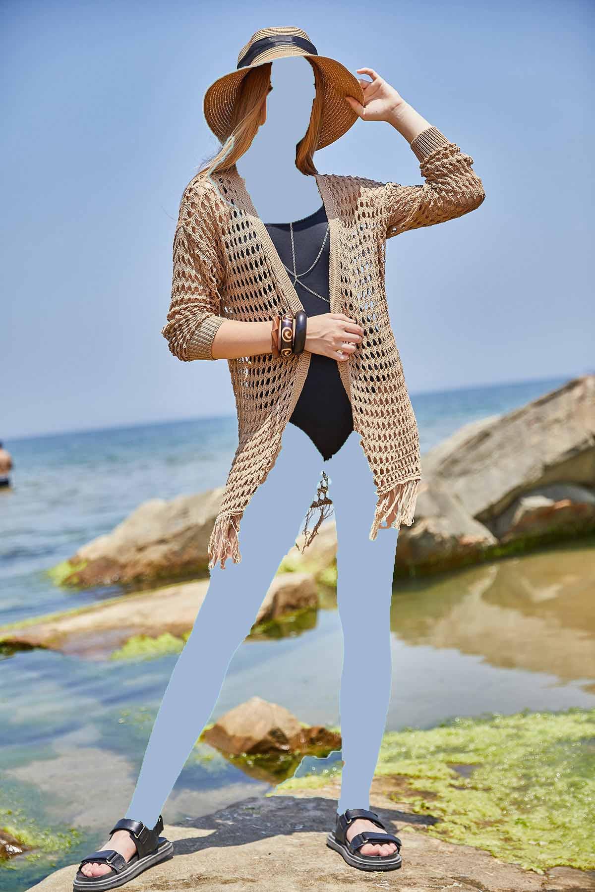 خرید انلاین ژاکت بافتی زیبا زنانه برند oshebu رنگ قهوه ای کد ty121721162