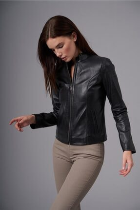 ژورنال کاپشن چرم زنانه برند Deri Company رنگ مشکی کد ty146965469