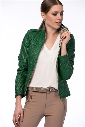 کاپشن چرم طرح دار برند Deriderim رنگ سبز کد ty1882711