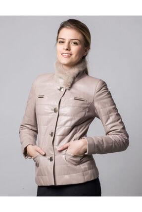 کاپشن چرم زنانه ارزان برند Deriderim رنگ بژ کد ty49578790