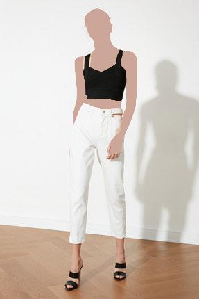 خرید شلوار جین زنانه ترک جدید برند TRENDYOLMİLLA رنگ کرمی کد ty83180706