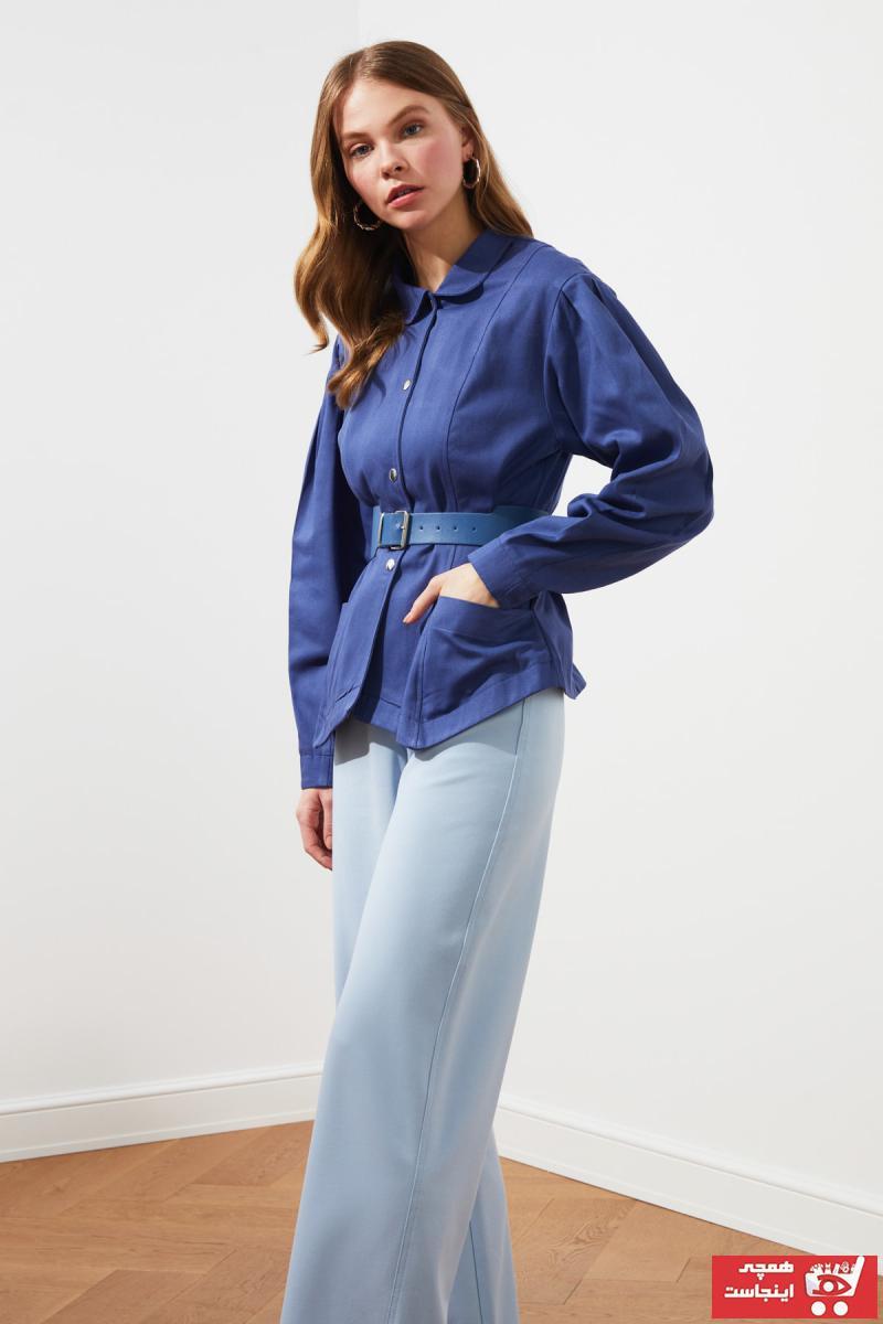 خرید پستی ژاکت شیک برند ترندیول میلا رنگ آبی کد ty85891390