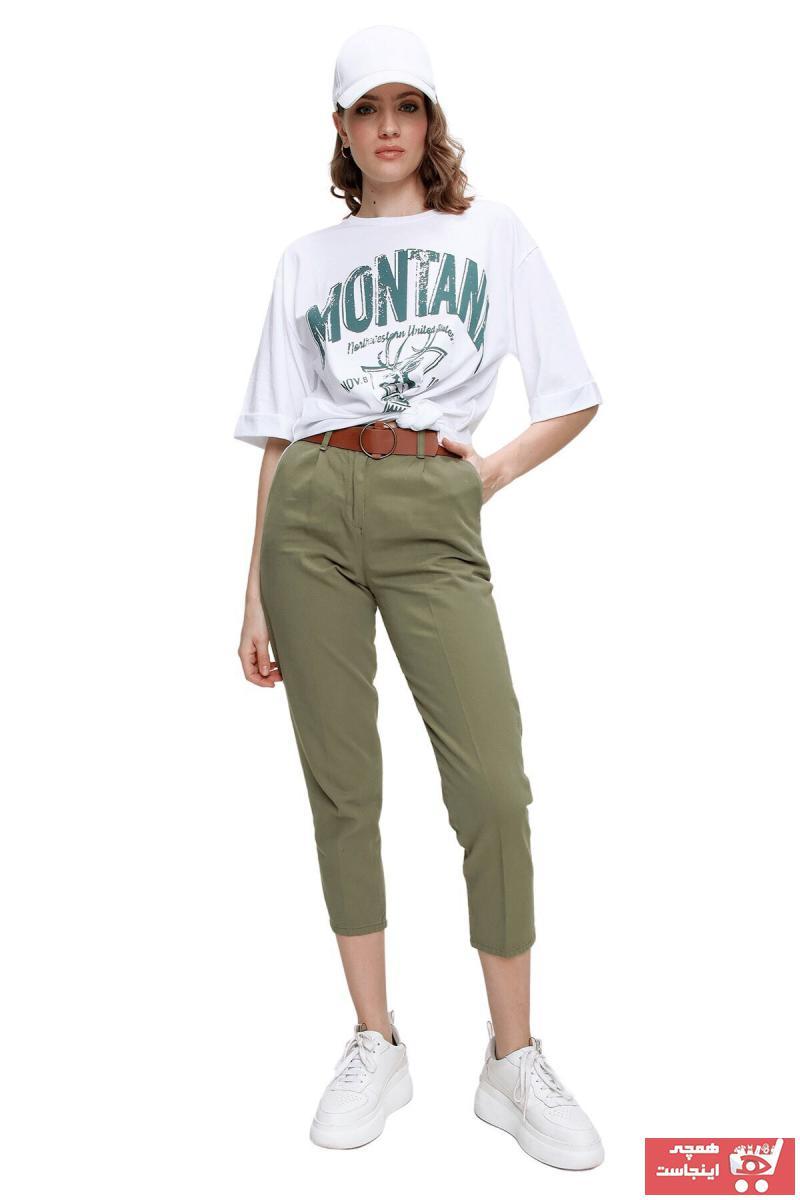 خرید انلاین شلوار زنانه ترکیه برند butikburuç رنگ خاکی کد ty93354068