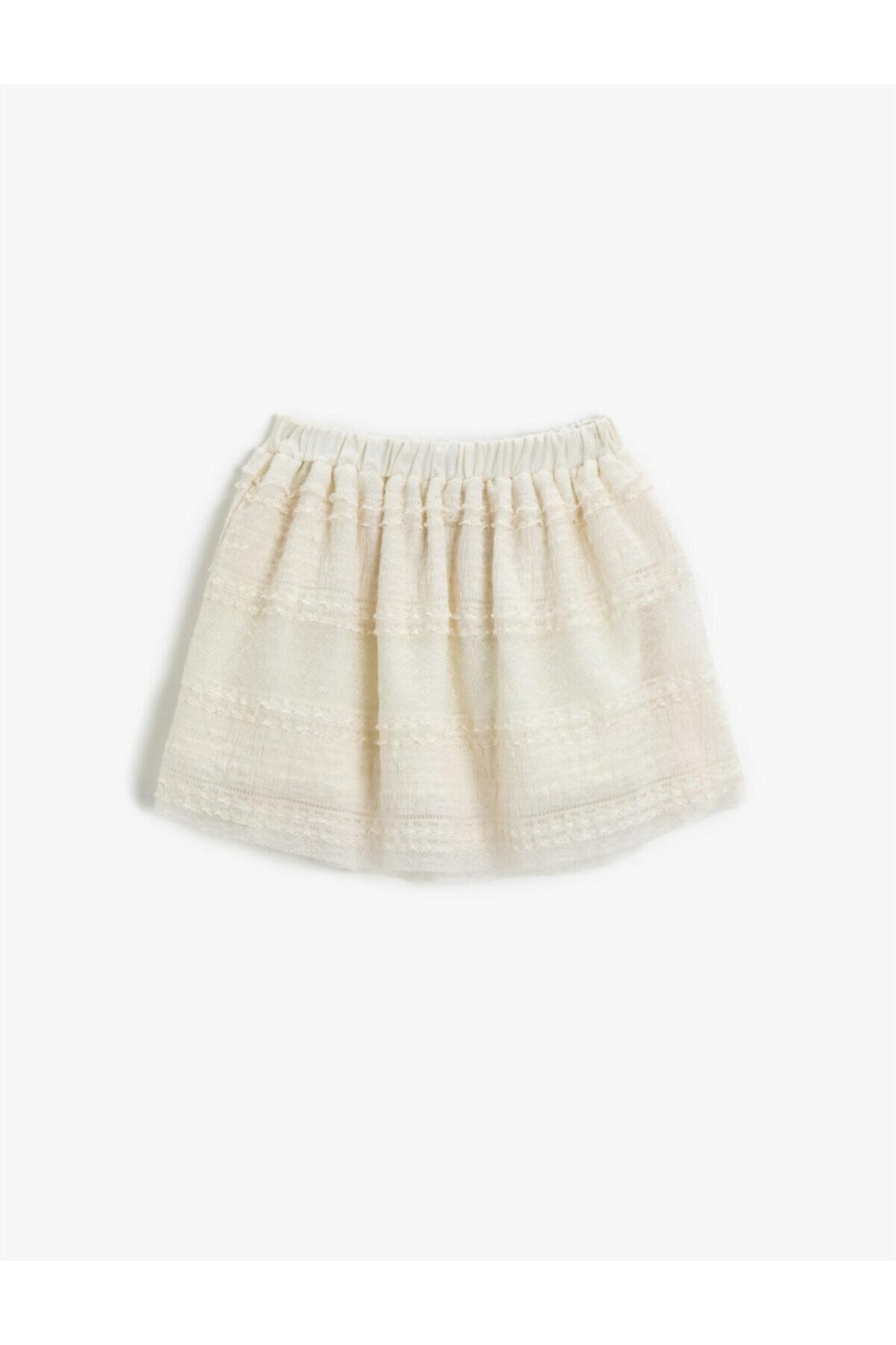 دامن دخترانه ارزان برند کوتون رنگ بژ کد ty100196135