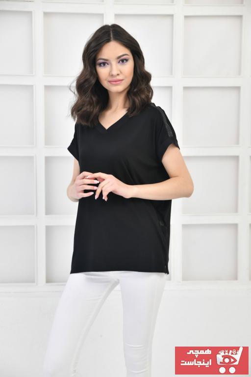 حرید اینترنتی تیشرت زنانه ارزان برند Çarşım Mağazaları رنگ مشکی کد ty100334946
