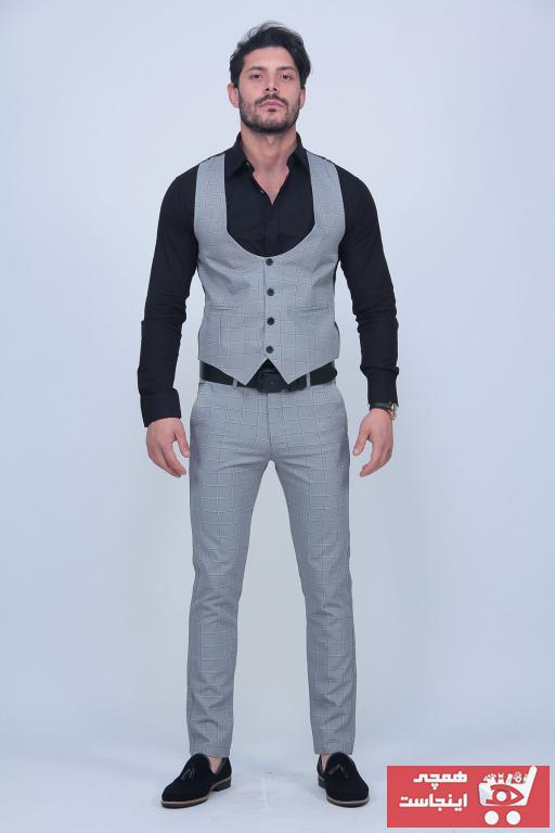 کت شلوار خاص مردانه برند Black Sokak رنگ نقره ای کد ty101105788