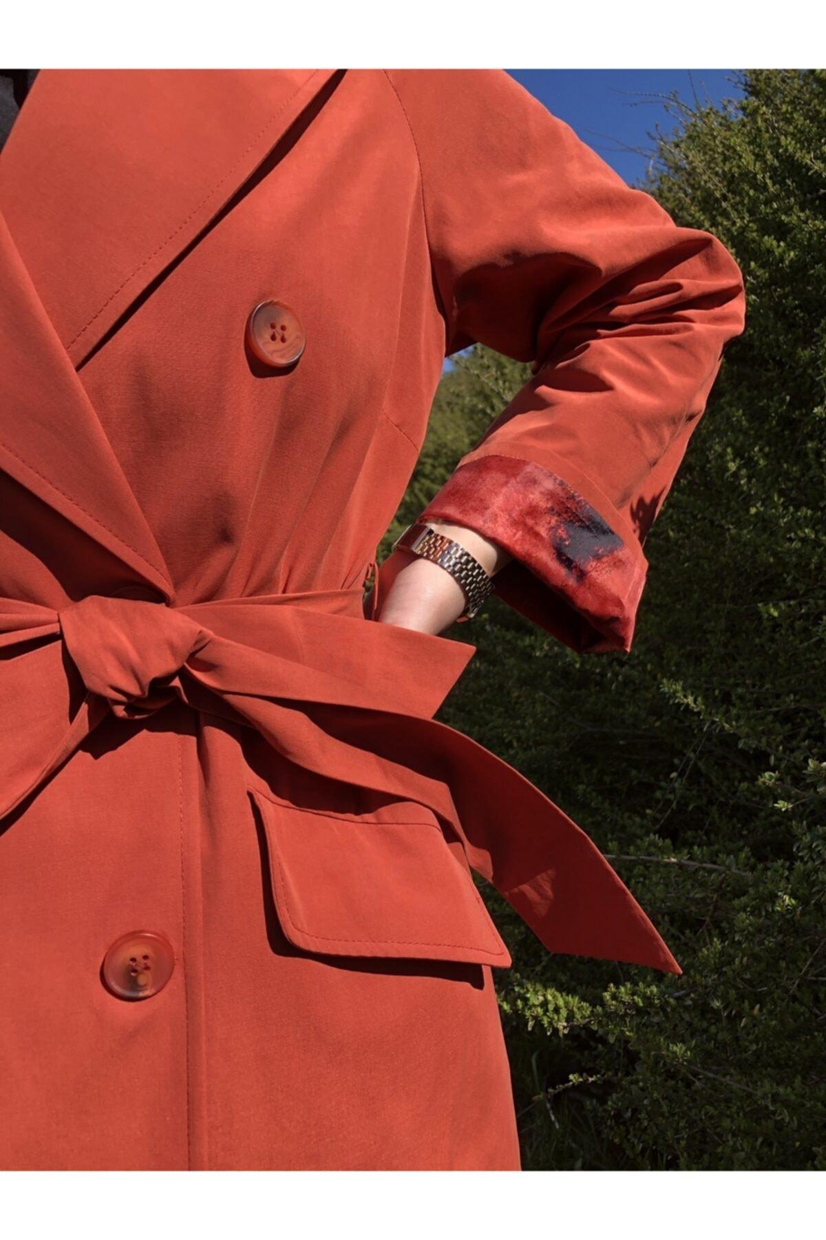فروش مانتو زمستانی زنانه حراجی برند Prilika رنگ نارنجی کد ty102174938