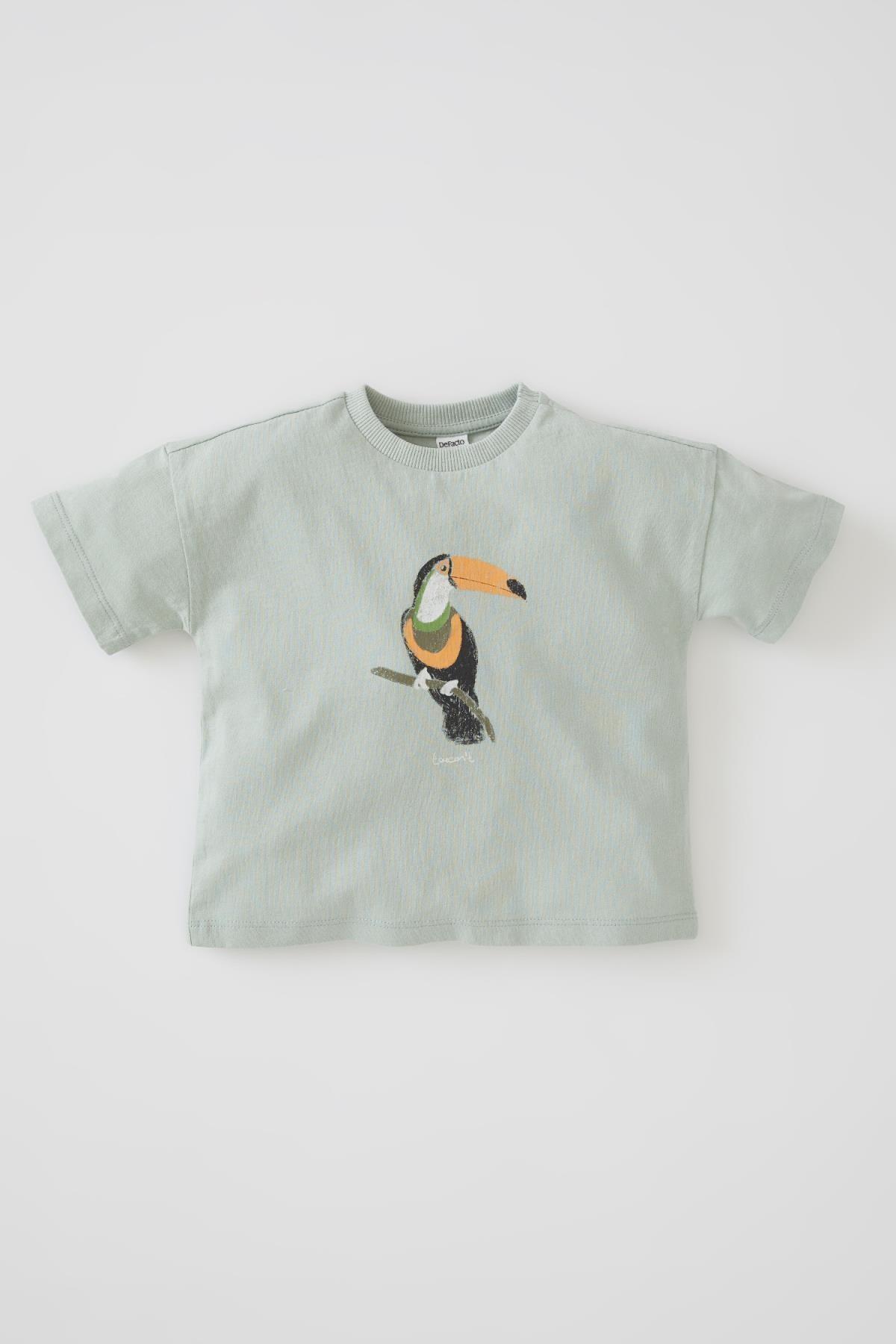 خرید تیشرت نوزاد پسرانه شیک برند دفاکتو رنگ فیروزه ای ty104352877