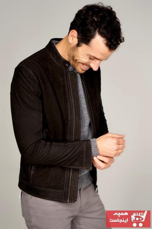 ژاکت چرم زیبا مردانه برند Derimod رنگ قهوه ای کد ty3097494