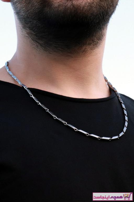 گردنبند مردانه خفن برند Baykuş رنگ نقره ای کد ty31080740