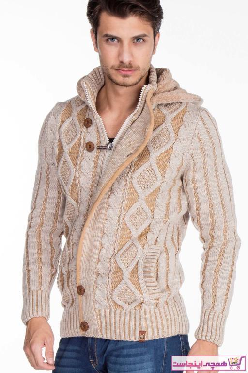 خرید پستی ژاکت بافتی مردانه پارچه نخی برند Cipo&Baxx رنگ بژ کد ty32525187