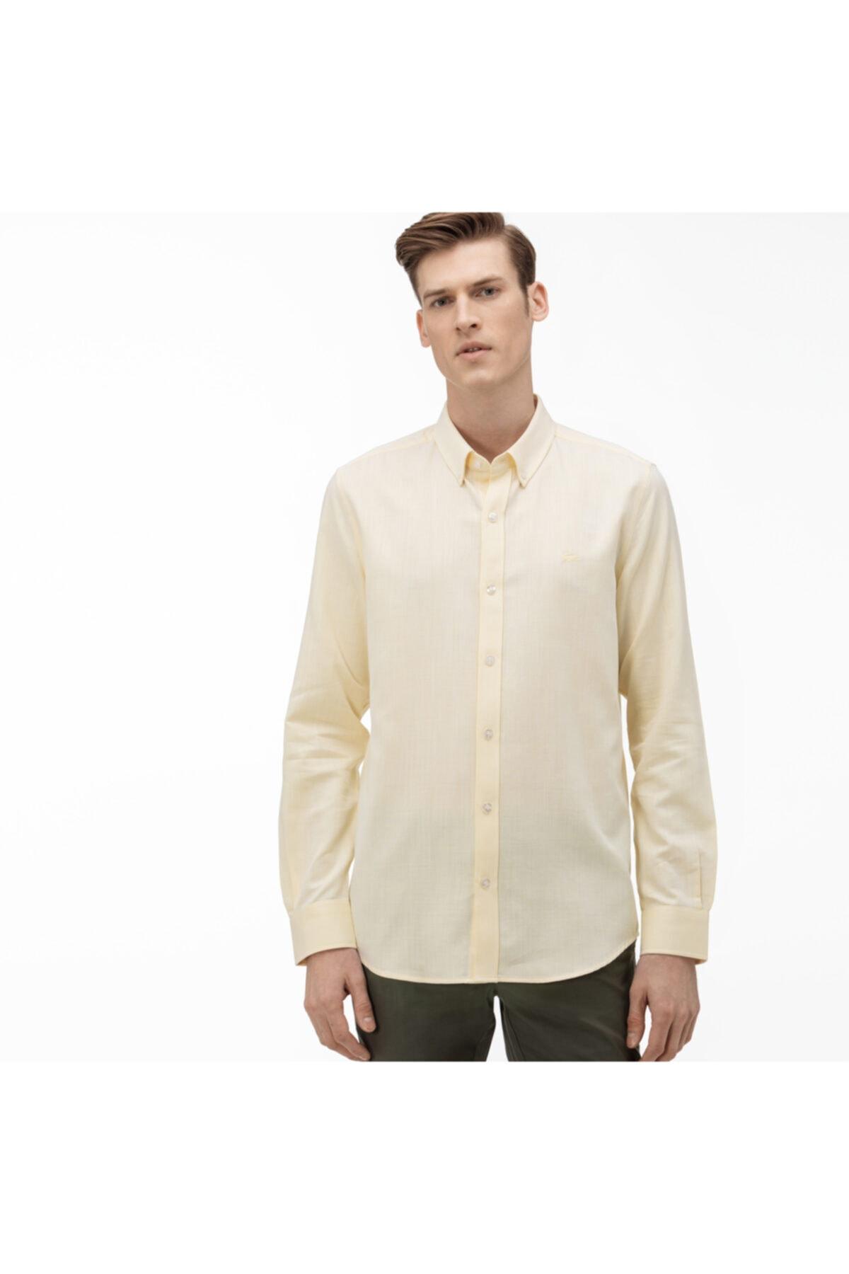 خرید ارزان پیراهن مردانه کلاسیک برند لاگوست رنگ زرد ty34809628