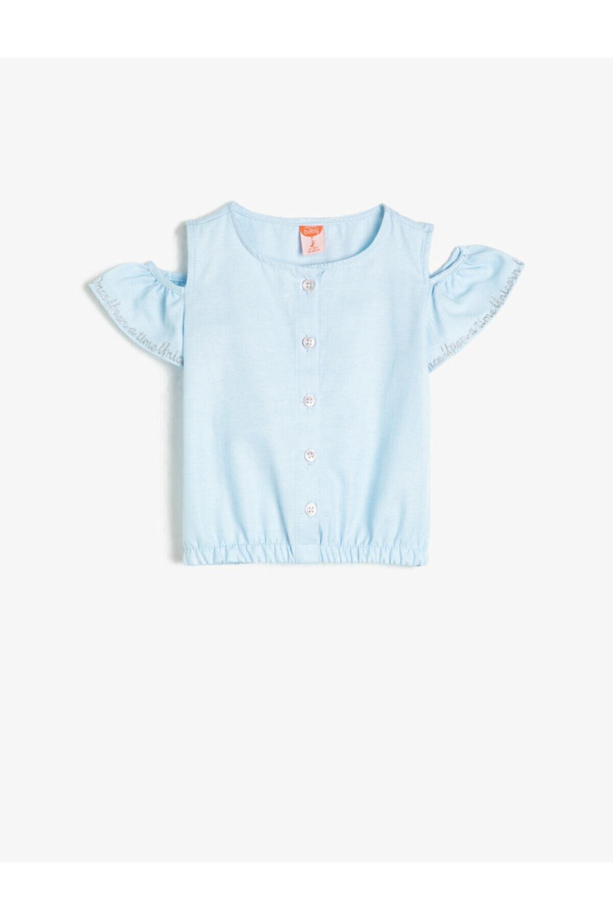 فروش بلوز نوزاد دخترانه جدید برند Koton Kids رنگ آبی کد ty35369102