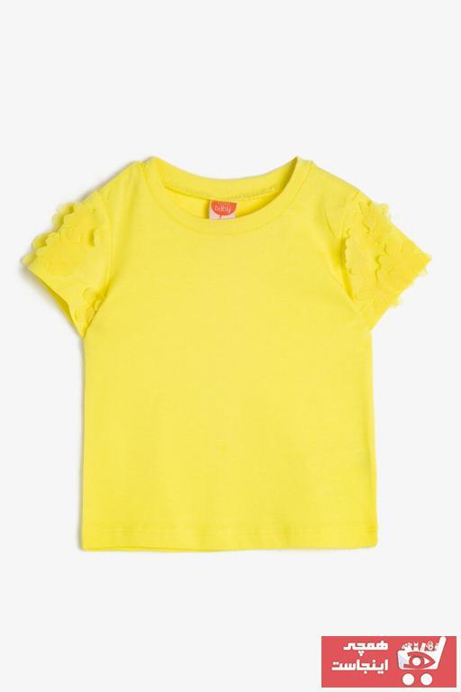 خرید تیشرت نوزاد دخترانه ترک جدید برند Koton Kids رنگ زرد ty36403642